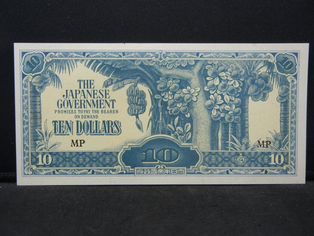 World War II Japanese 10 Dollars Malaya Note.  Nice Crisp Note.