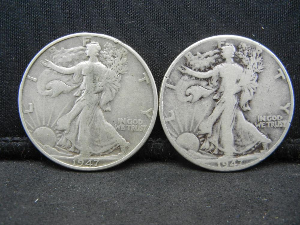1947 PD Walking Liberty Half Dollars.  Semi-Key Dates.