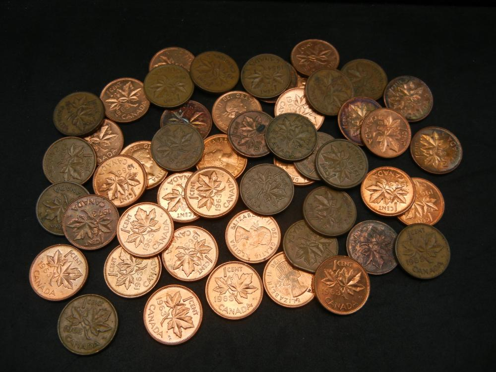 Lot 21N: 50 Canadian Copper Cents Dated Before 1997.