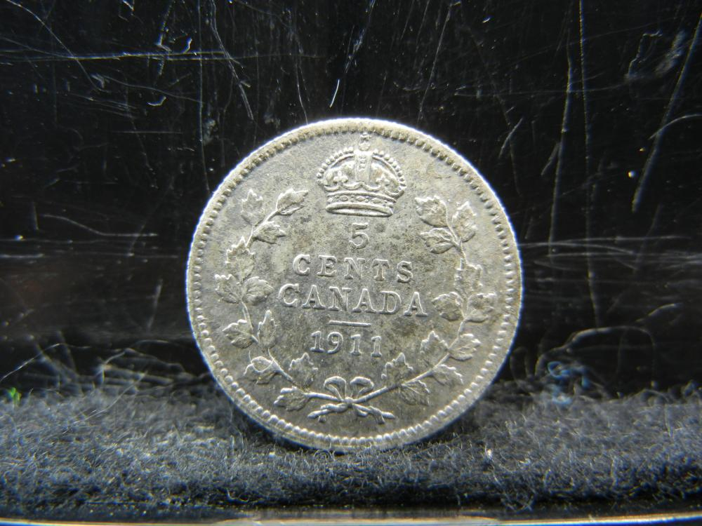 1911 Canada Five Cents Sterling Silver Coin