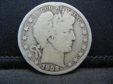 Lot 14B: 1908-D Barber Half Dollar