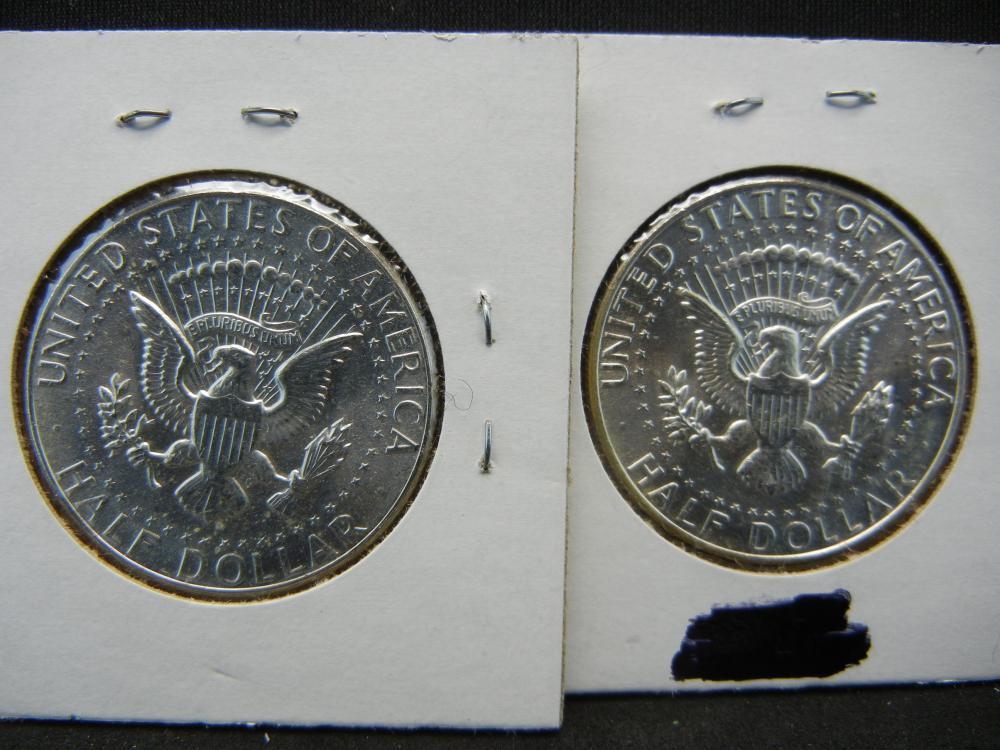 Lot 15B: (2)90% Silver 1964 Kennedy Half Dollars
