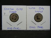 Lot 7: (2) Small Transit Tokens from Ohio Towns: Canton and Lima.