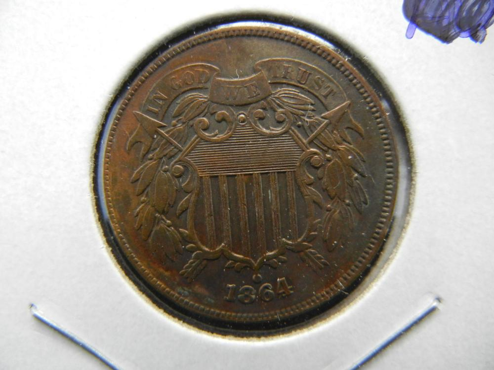 1864 US Two Cent Piece. XF/AU Strong WE