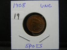 Lot 19: 1908 Indian Cent. Uncirculated with some spots.