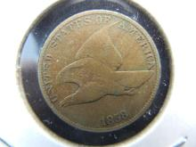 Lot 18: 1858 Flying Eagle Cent. Fine. This is the tough Large Letter Variety.