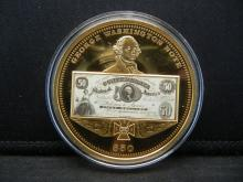 Lot 2: George Washington $50 Note Medal (Huge). Shows the 1861 Confederate Issue. Gold Plated. Proof.