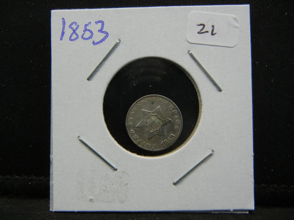 Lot 21: 1853 Three Cent Silver. Almost Uncirculated.