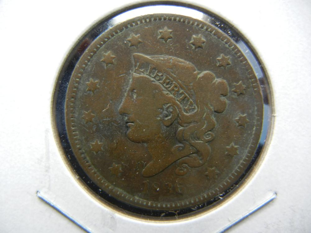 1836 US Large Cent.  Fine.