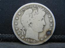 Lot 32N: 1900-S Barber Head Half Dollar, Very Good.