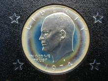 Lot 29N: 1974-S Eisenhower 40% Silver Proof Silver Dollar With Original Brown Box Packaging.