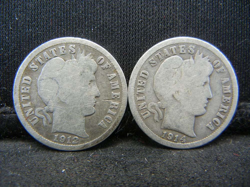 Lot 31C: 1912 & 1914 SILVER BARBER (90%) DIMES, (ONLY 19.3 & 17.3 MILL EVER MINTED), OVER 1 CENTURY OLD, HARDER TO FIND/OWN HISTORY, INCREDIBLE COINS!
