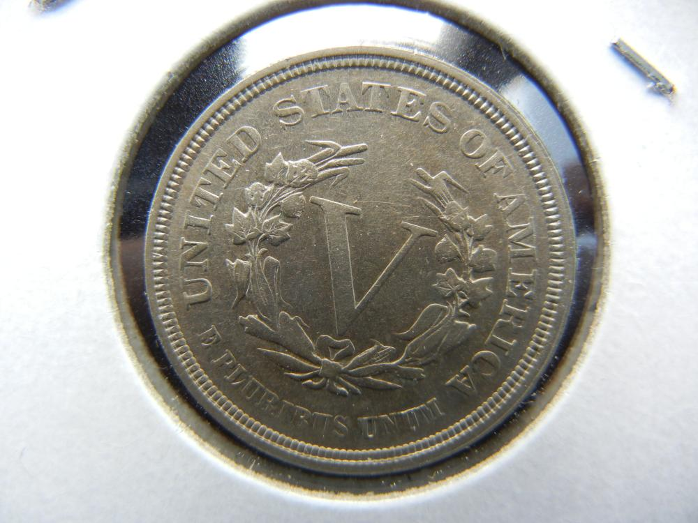 Lot 23: 1883 No Cents V Nickel. Nice Almost Uncirculated.