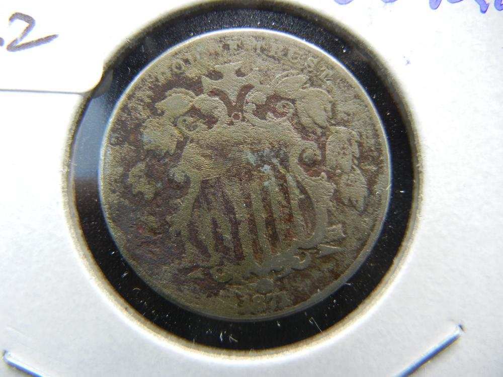 1871 Shield Nickel.  Tough Date.  Good detail.