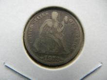 Lot 28: 1873 With Arrows Seated Dime. Original Fine.
