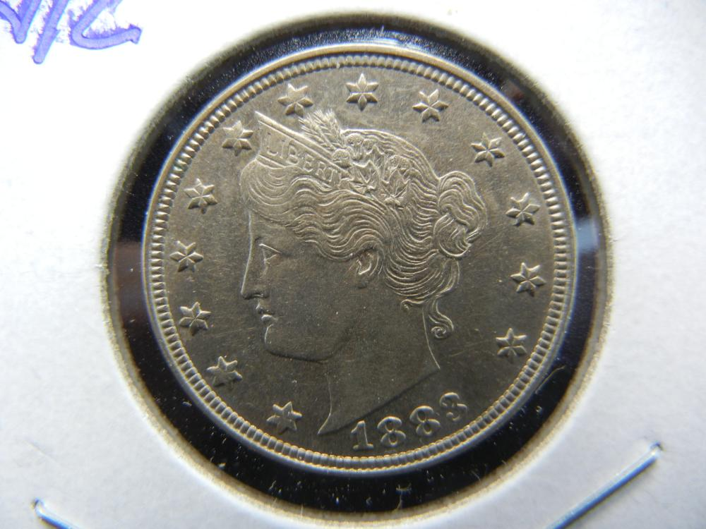 1883 No Cents V Nickel.  Nice Almost Uncirculated.