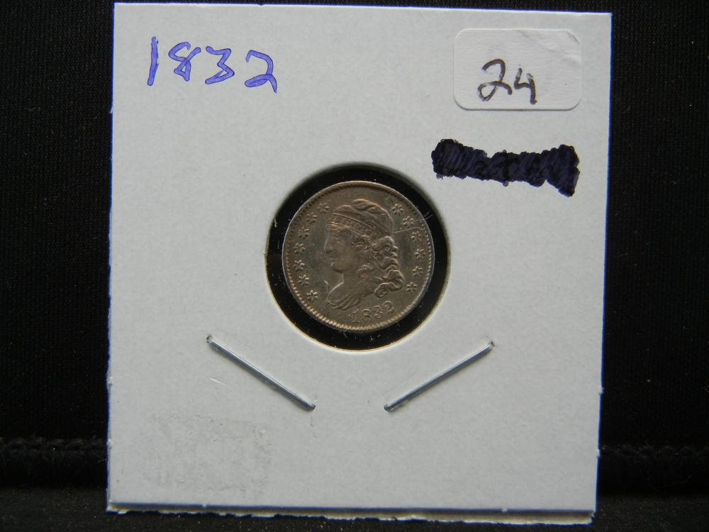 Lot 24: 1832 Capped Bust Half Dime. Almost Uncirculated Detail.