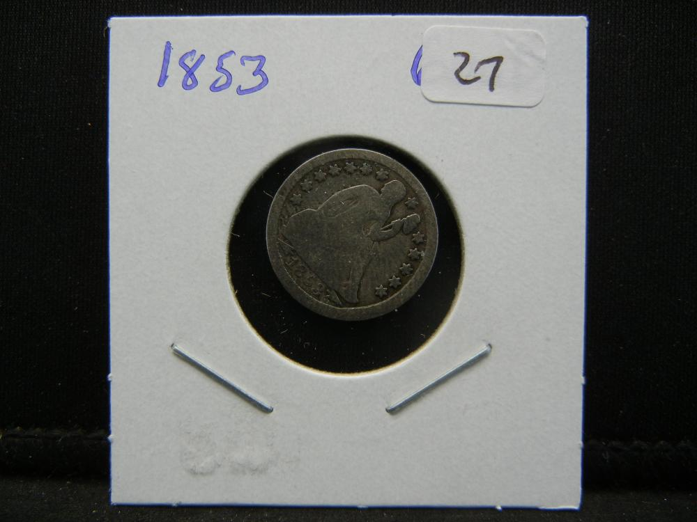 Lot 27: 1853 Seated Dime. Good.