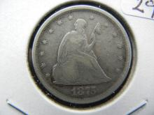 Lot 29: 1875-S US Twenty Cent Piece. Very Good and hard to find.