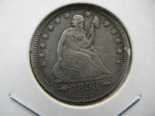 Lot 30: 1853 Seated Quarter. Extremely Fine detail.