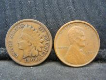 Lot 41N: 1909 Indian Cent (Full Liberty) and 1909-VDB Lincoln Cent.