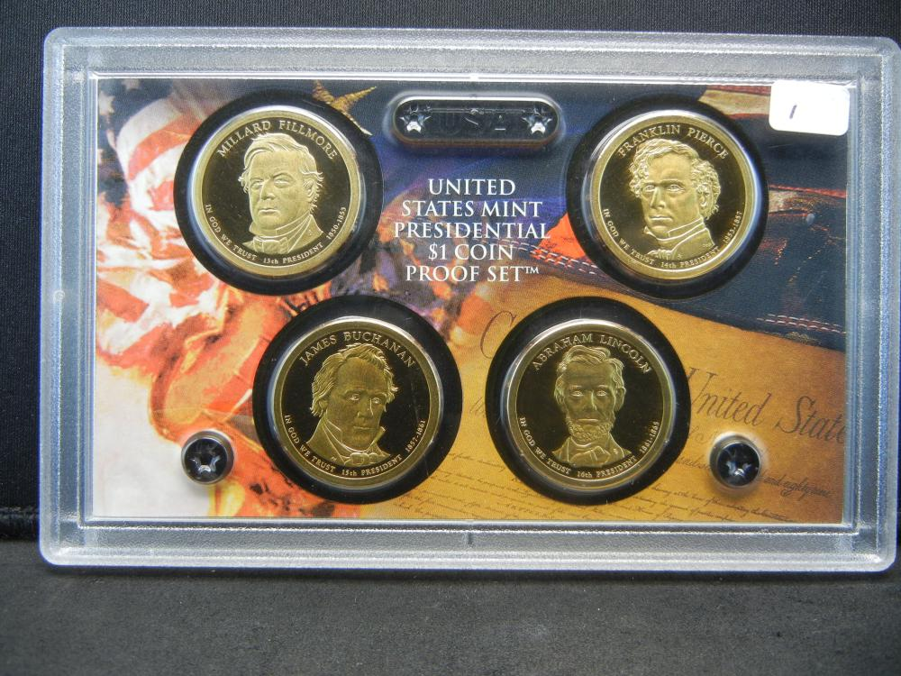 Lot 1: 2010-S Presidential Proof Set: Fillmore, Pierce, Buchanan, Lincoln.