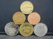 Lot 38N: Group of 6 Different Parking Tokens.