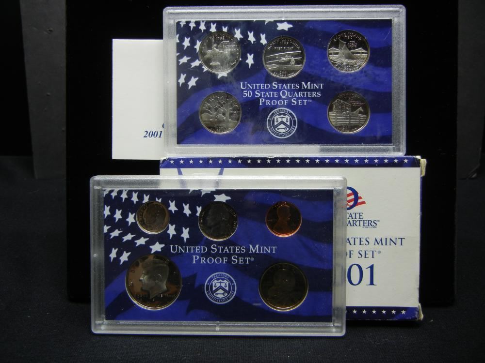 2001-S US Clad Proof Set.  In government package.  Tough Sacajawea $1. GEM Proof.