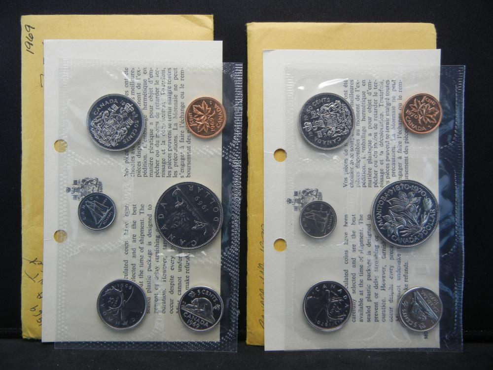 1969 and 1970 Canadian Mint Sets.