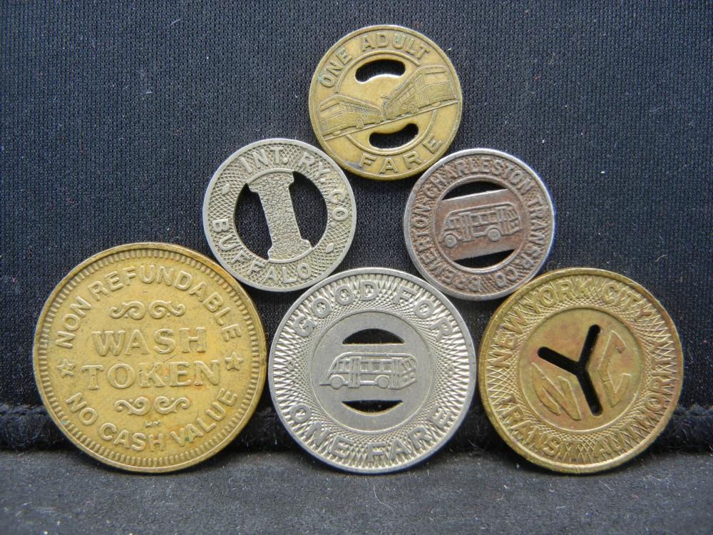 Lot 39N: Group of 6 Different Transit Fare Tokens.