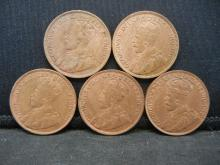 Lot 37C: (5) CONSECUTIVE CANADIAN 1 CENTS (1915-1919)