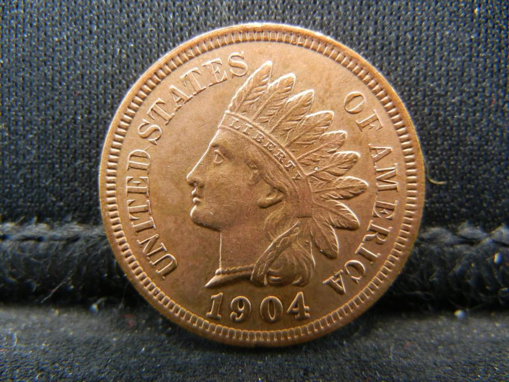Lot 36C: 1904 RED INDIAN, (RIBBON, 4 DIAMONDS, BEADS, FULL LIBERTY, DETAILED FEATHERS, ETC)