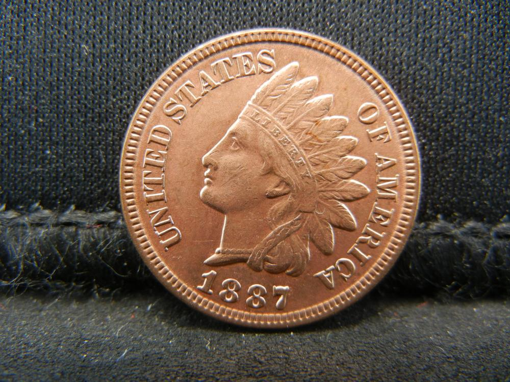 Lot 48C: 1887 RED INDIAN, (RIBBON, 4 DIAMONDS, BEADS, FULL LIBERTY, DETAILED FEATHERS, ETC)