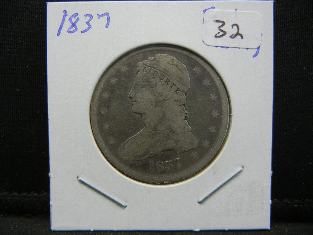 Lot 32: 1837 Capped Bust Half. Reeded Edge. Full Liberty.