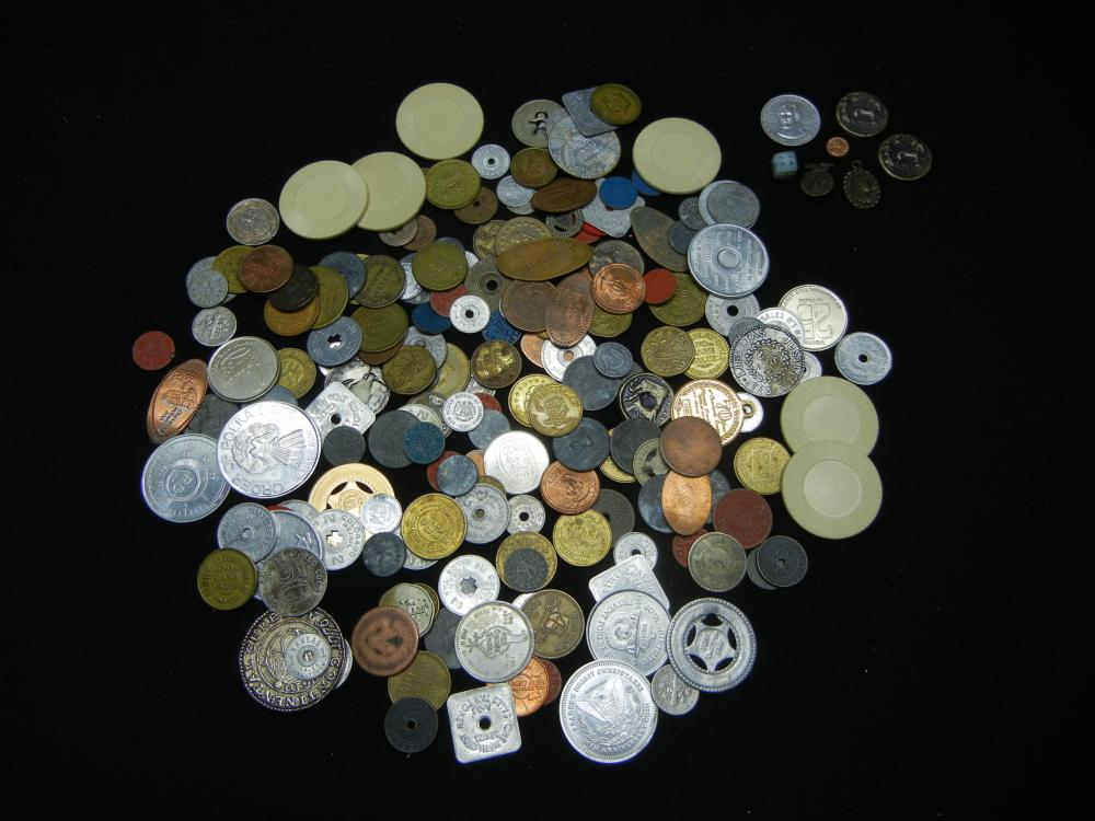 Lot 44C: 18.01 OZ, INCREDIBLE FIND (SILVER, FOREIGN, CASINO, ELONGATED PENNIES, TOKENS, MISC)