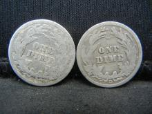 Lot 43C: 1912 & 1914-D SILVER BARBER (90%) DIMES, (ONLY 19.3 & 11.9 MILL EVER MINTED), OVER 1 CENTURY OLD