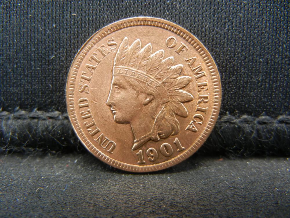 Lot 45C: 1901 RED INDIAN, (RIBBON, 4 DIAMONDS, BEADS, FULL LIBERTY, DETAILED FEATHERS, ETC)
