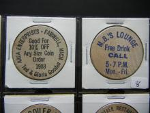 Lot 8: (20) Really Great Wooden Nickels. Mostly very old bars and restaurants.