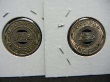 Lot 7A: (2) Large Transit Tokens from big water towns: Port Arthur Tx and Orchard Beach NY.
