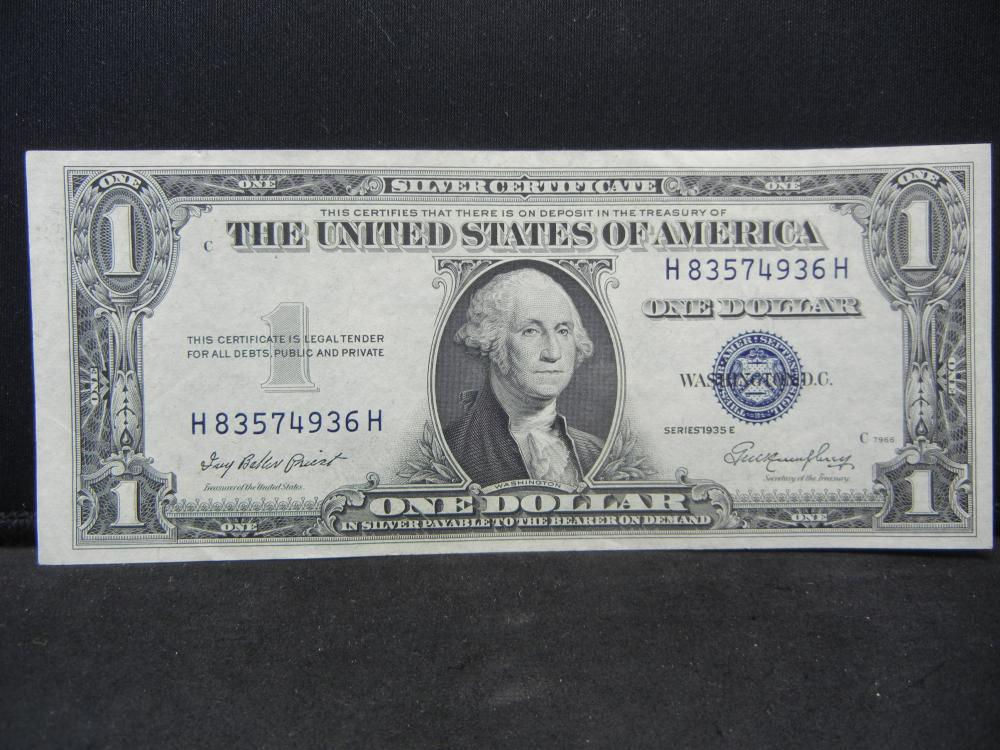 1935 E $1 Silver Certificate.   Choice Crisp Uncirculated.