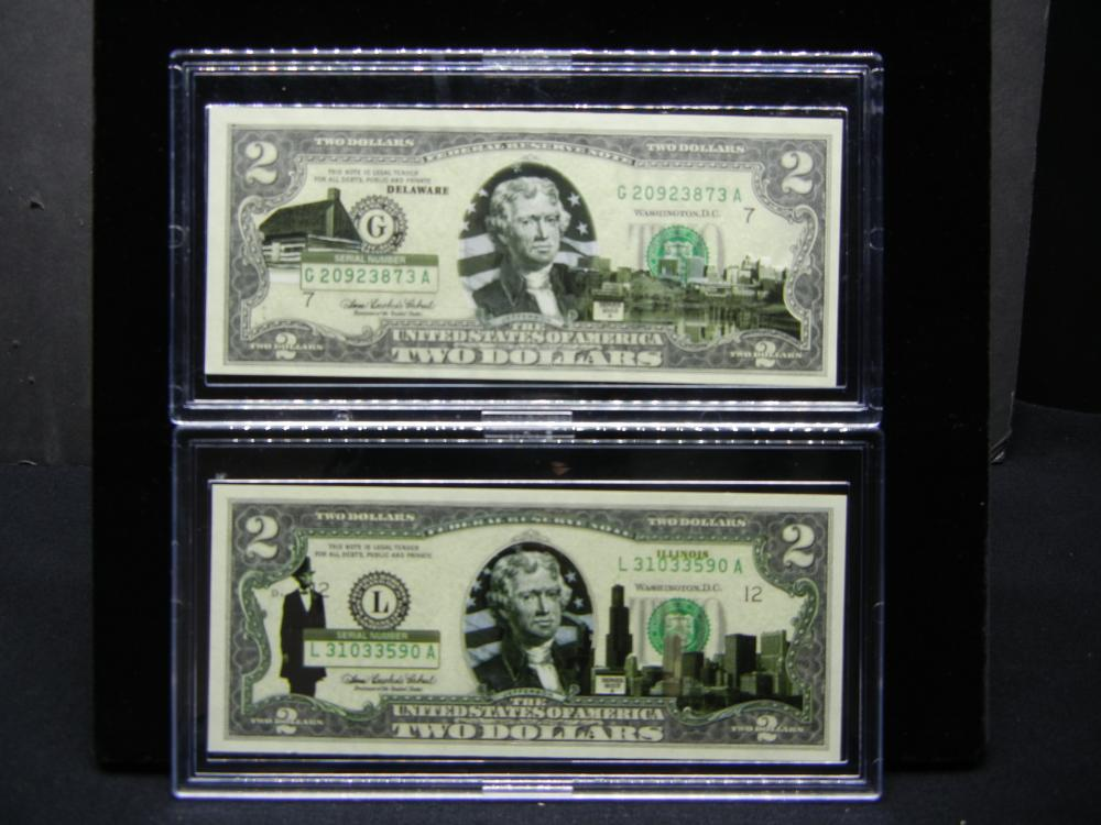 (2) Series 2003A $2 Bills modified to show scenes from Delaware and Illinois.  Neat.  Crisp Uncirculated.