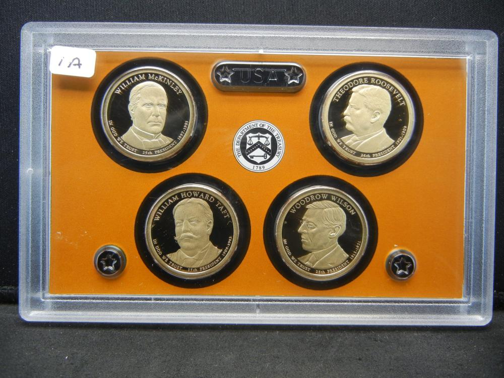 Lot 1A: 2013-S Presidential Proof Set: McKinley, Roosevelt, Taft, Wilson.