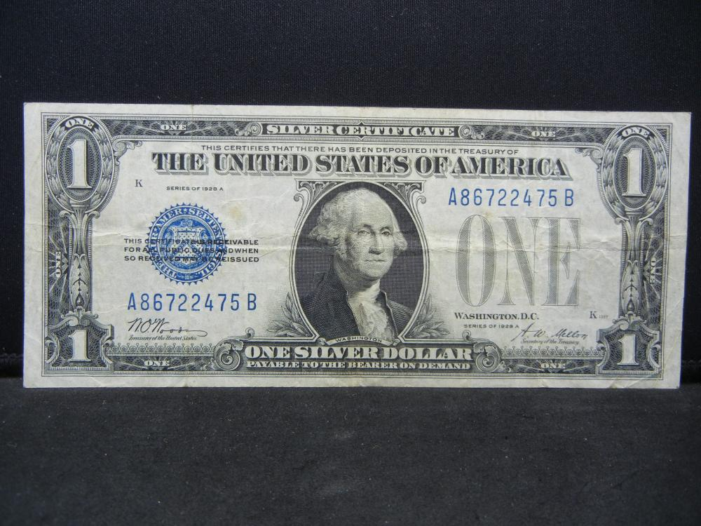 1928-A $1 Silver Certificate.  The famous Funny Back.  Very Fine.