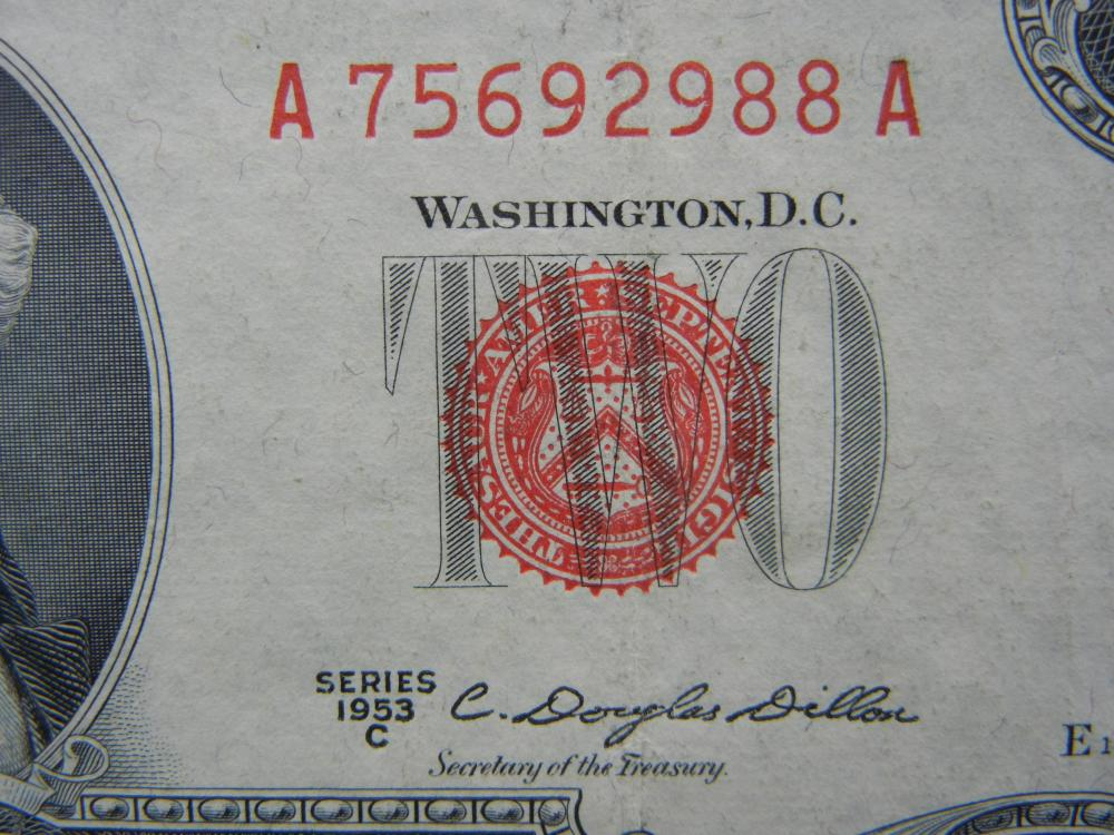 Lot 46N: 1953-C $2 Red Seal United States Note. Serial # A75692988A.