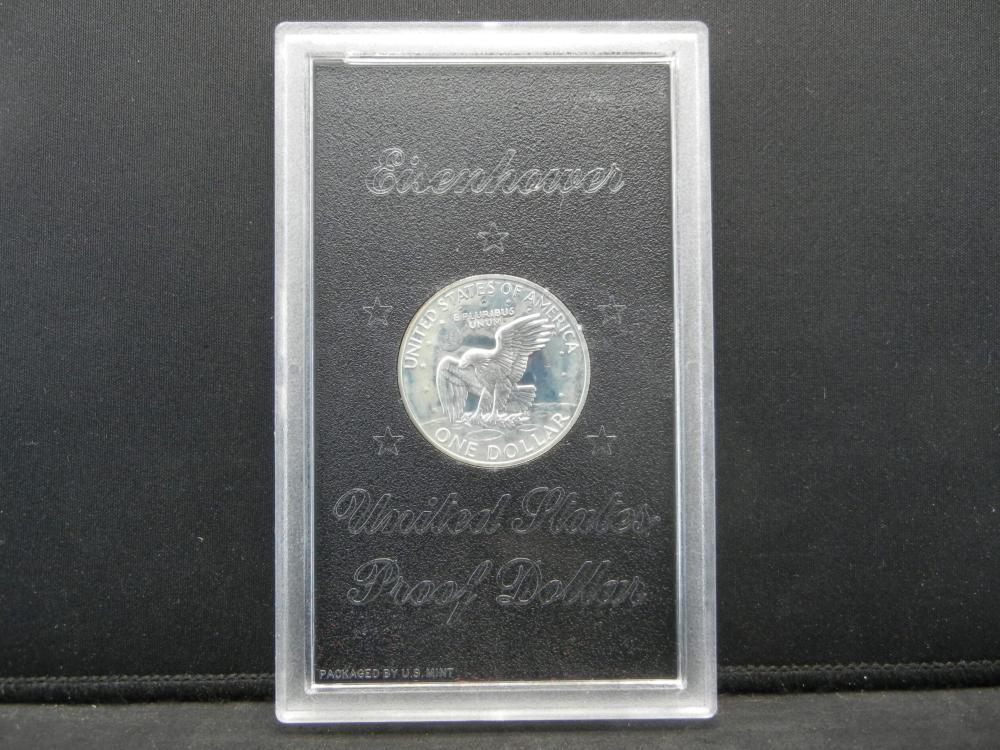 Lot 44N: 1972-S Eisenhower 40% Silver Proof Silver Dollar With Original Brown Box Packaging.