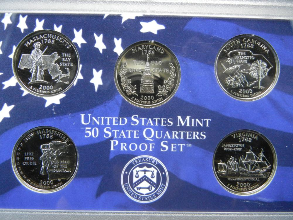 Lot 4A: 2000-S US Clad Proof Set. In government package. Second State Quarter Year. GEM Proof.