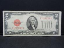 Lot 48N: 1928-G $2 Red Seal United States Note. Serial # E12122389A