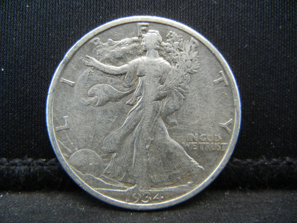 Lot 50C: 1934 SILVER LIBERTY (90%) HALF, ONLY 6.9 MILL MINTED/85 YRS OLD