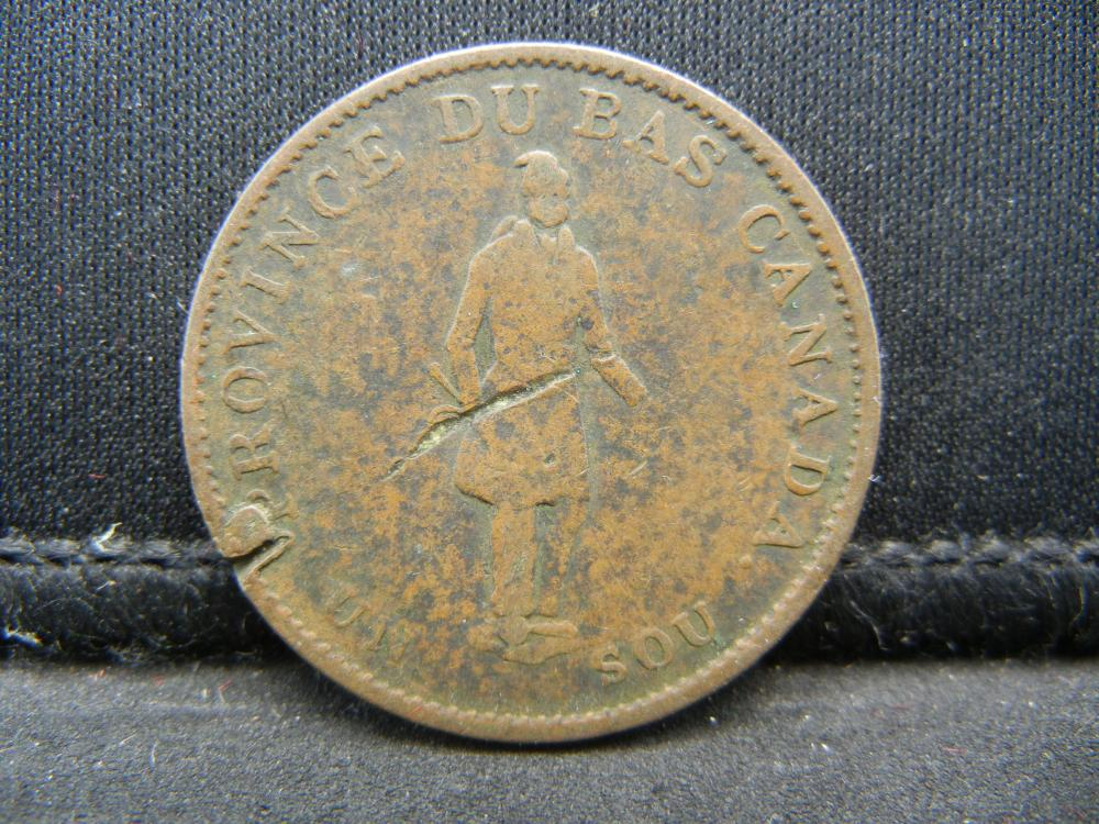 Lot 52C: 1837 CANADA 1/2 PENNY, RARE/HARD TO FIND, 182 YEARS OLD