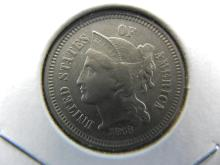 Lot 20A: 1868 Three Cent Nickel. Almost Uncirculated.